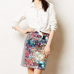 Anthaprologie Tabitha Meadow Floral Stripped Skirt